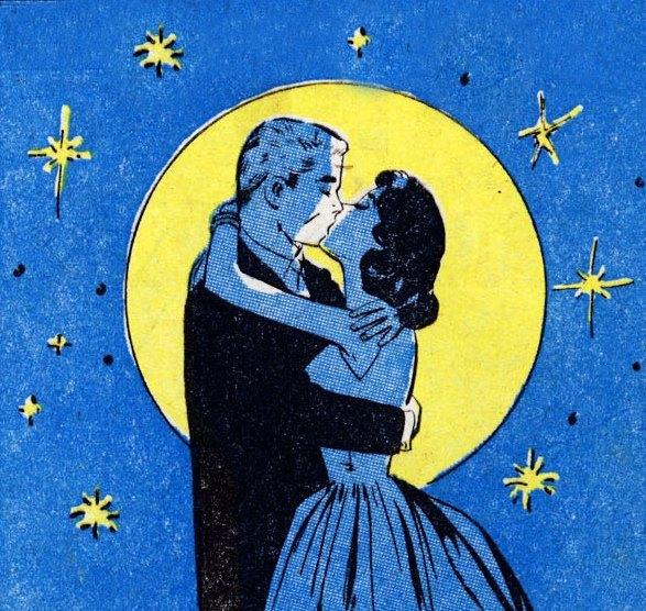 Vintage illustration couple man woman kissing under moon stars.