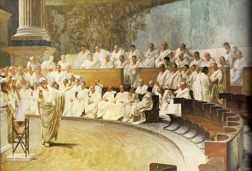 ancient greek senate leaders meeting giving speeches