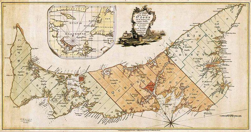 vintage map of prince edward island canada