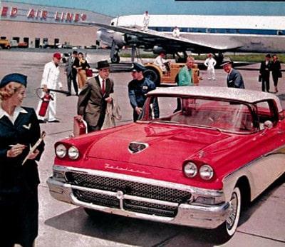 Vintage illustration red car on airport tarmac.