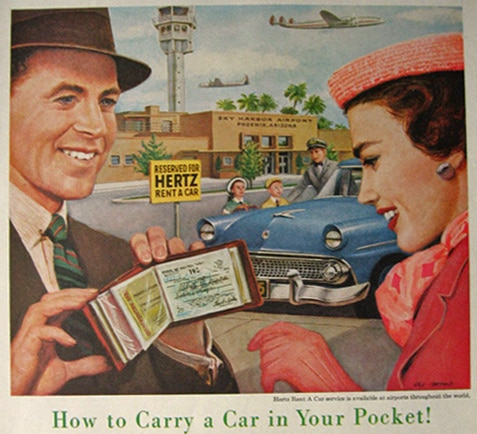 Vintage hertz car rental ad advertisement.