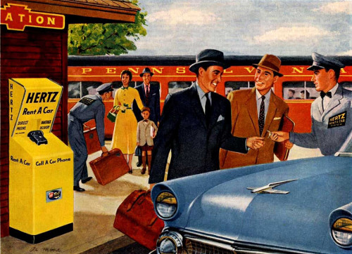 vintage illustration hertz rent a car kiosk train station