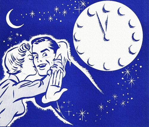 Vintage illustration man holding off advances of woman late at night.