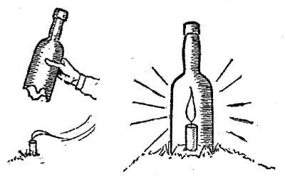 boy scouts vintage illustration candle flame in bottle