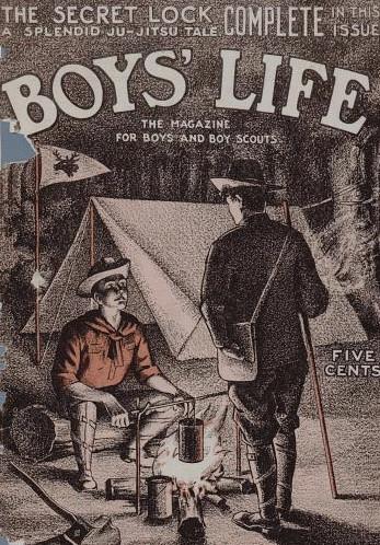 boy's life magazine cover boys camping campfire