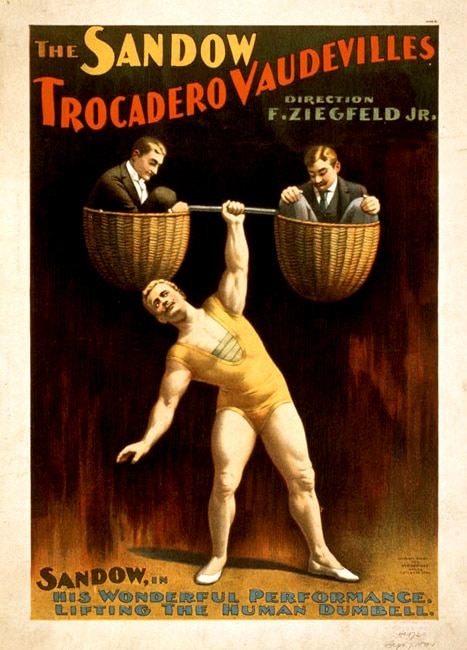 Eugen Sandow vintage strongman poster lifting two men.