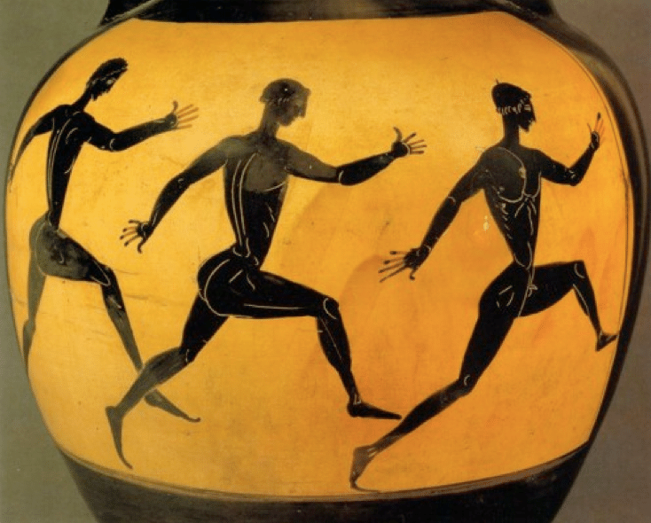 Ancient Greek pottery men running.