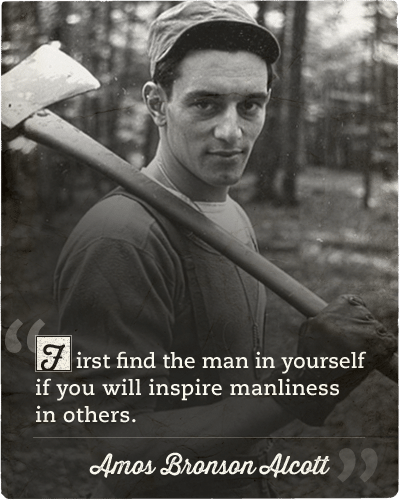 Quote about inspiring manliness in others by Amos Bronson Alcott.