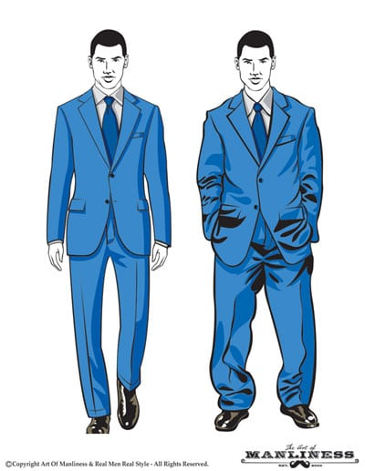 Good suit fit illustration vs bad.