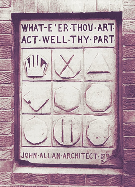 what e'er thou art act well they part john allan plaque