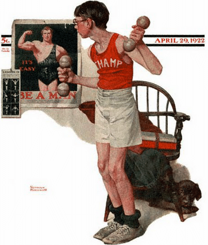 vintage illustration artwork skinny boy working out