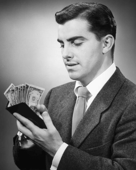 vintage man counting money cash in wallet