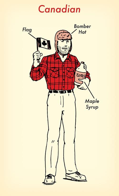Canadian halloween costume red flannel shirt illustration.
