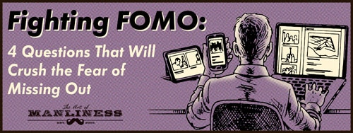 FOMO fear of missing out man on many devices illustration.