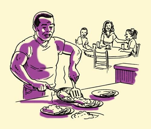dad making dinner for family illustration