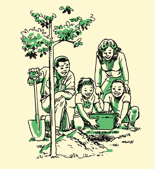 Family planting tree in the ground together illustration.