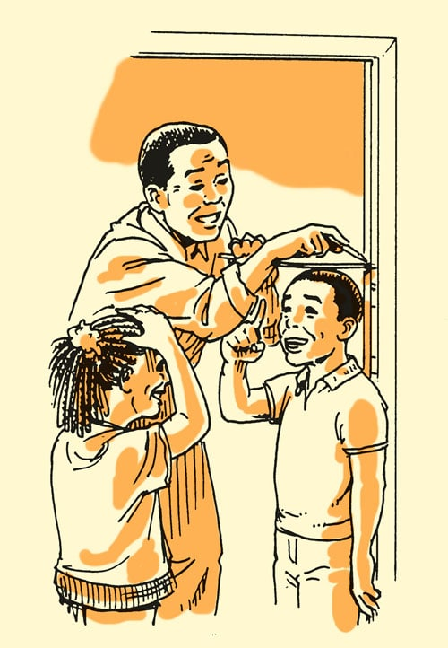 Dad measuring child kid's height on doorframe illustration.