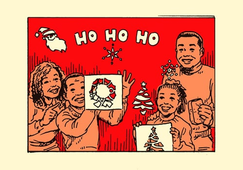 family putting christmas wax stencils on window illustration