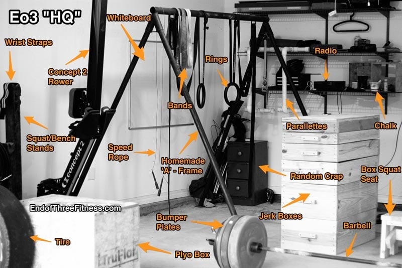 Elgin garage gym thursday august front squat thruster bench