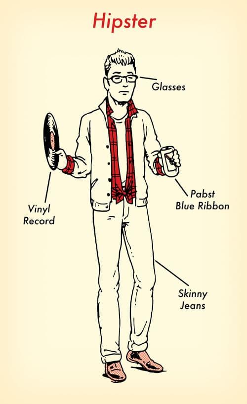 Hipster halloween costume red flannel shirt illustration.