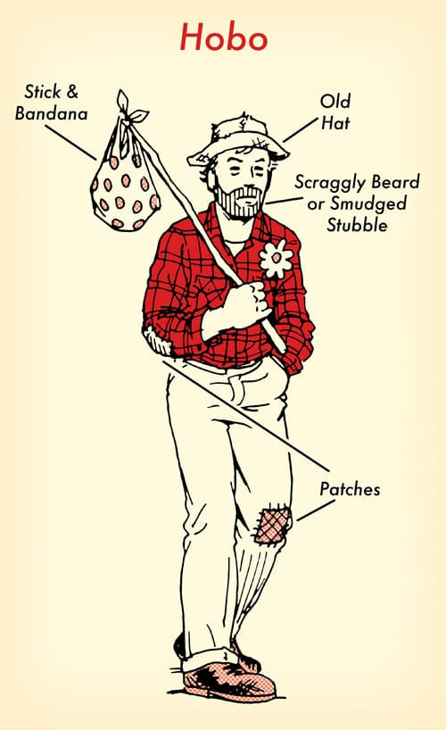 Hobo halloween costume red flannel shirt illustration.