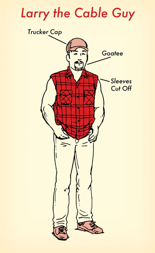 Larry the cable guy halloween costume red flannel shirt illustration.