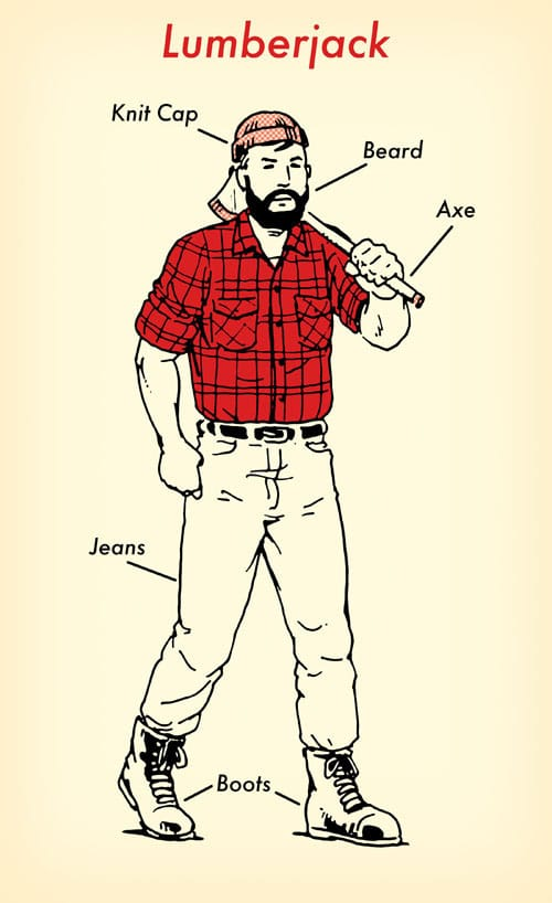 Lumberjack halloween costume red flannel shirt illustration