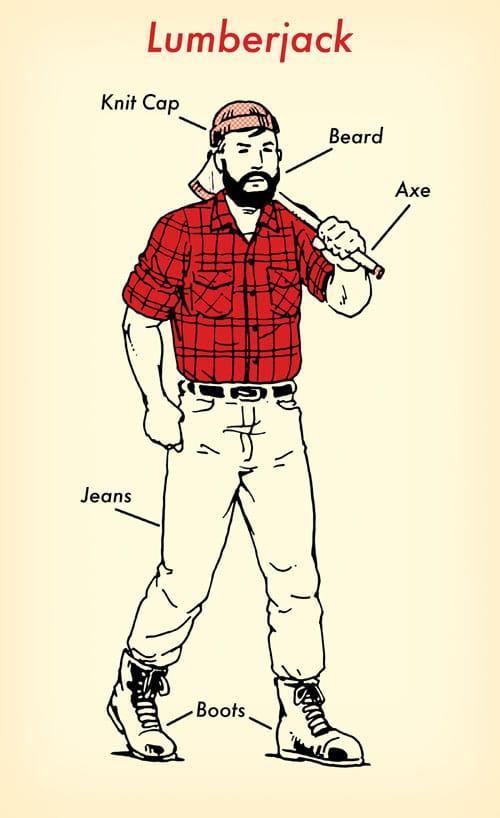 Lumberjack halloween costume red flannel shirt illustration.