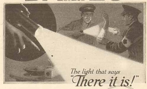 Vintage men burning flashlight.