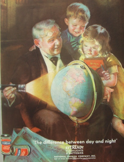 vintage painting illustration grandfather showing children globe