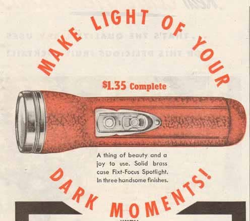 Vintage press forward button of flashlight.