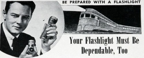 Vintage man holding flashlight in his hand.