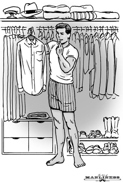 man in large closet picking out clothes illustration