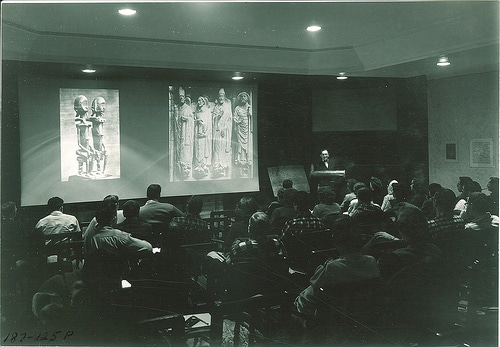 vintage college classroom students viewing slides on screen