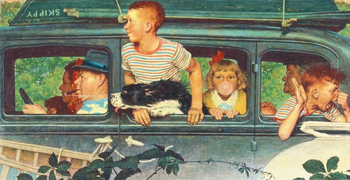 Vintage painting illustration family in car kids hanging out windows.