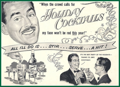 Vintage 1950s holiday winter cocktails ad advertisement.
