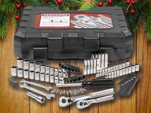 Craftsman tool set with christmas background.