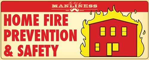 Home fire safety illustration house on fire.
