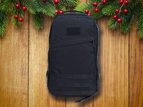GORUCK rucksack with christmas background.