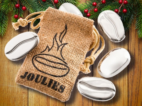 Coffee joulies with christmas background.