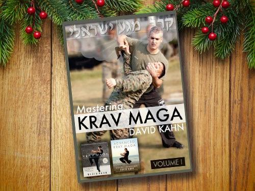 Krav mega DVDs with christmas background.