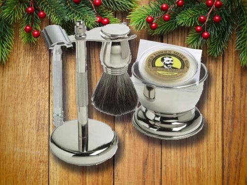 Safety razor set with christmas background.