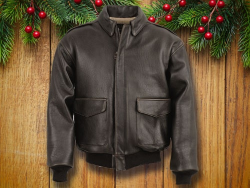 Schott's leather jacket with christmas background.