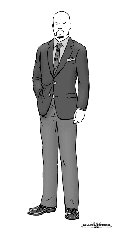 bald man with goatee wearing suit illustration