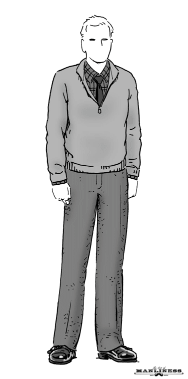 man in quarter zip sweater over button up shirt illustration
