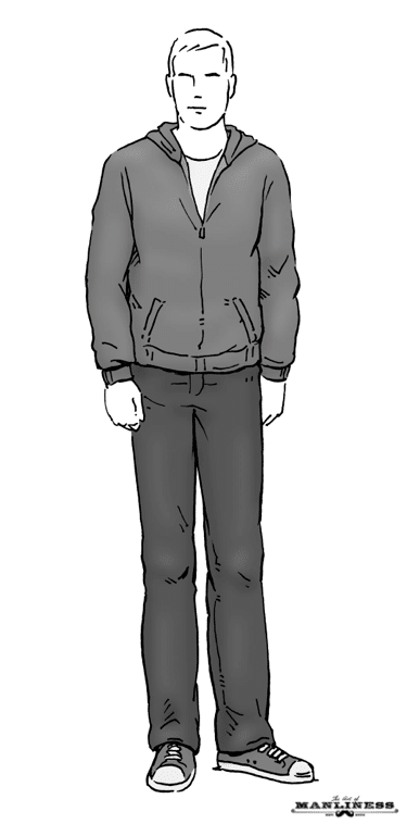 man in jeans and zip up hoodie sweatshirt illustration
