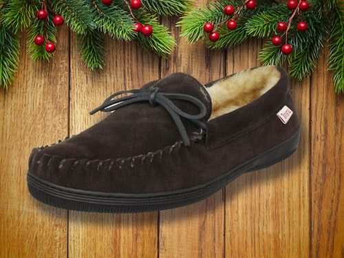 Pair of slippers with christmas background.