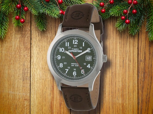 Timex field watch with christmas background.