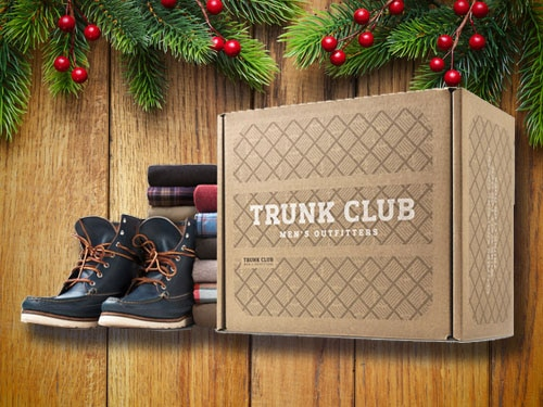 Trunk club gift card with christmas background.