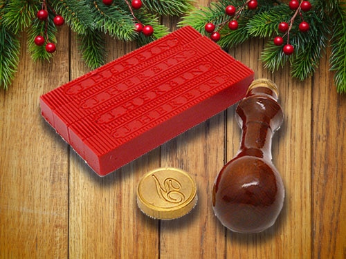 Wax seal set with christmas background.